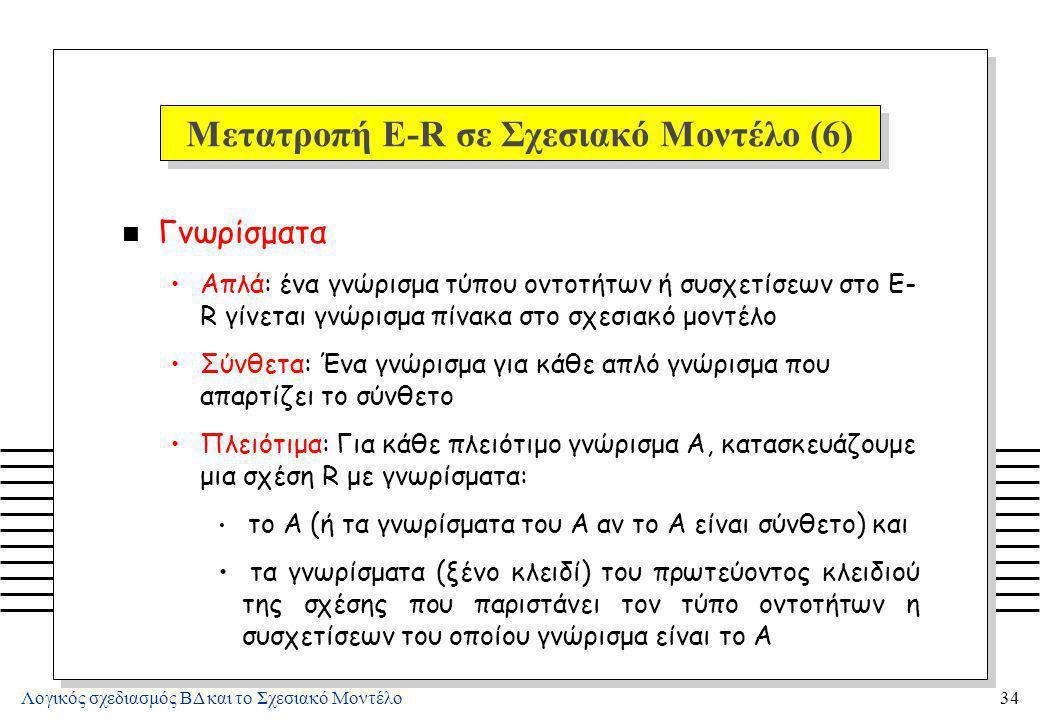 Μετατροπή E-R σε Σχεσιακό Μοντέλο (7)