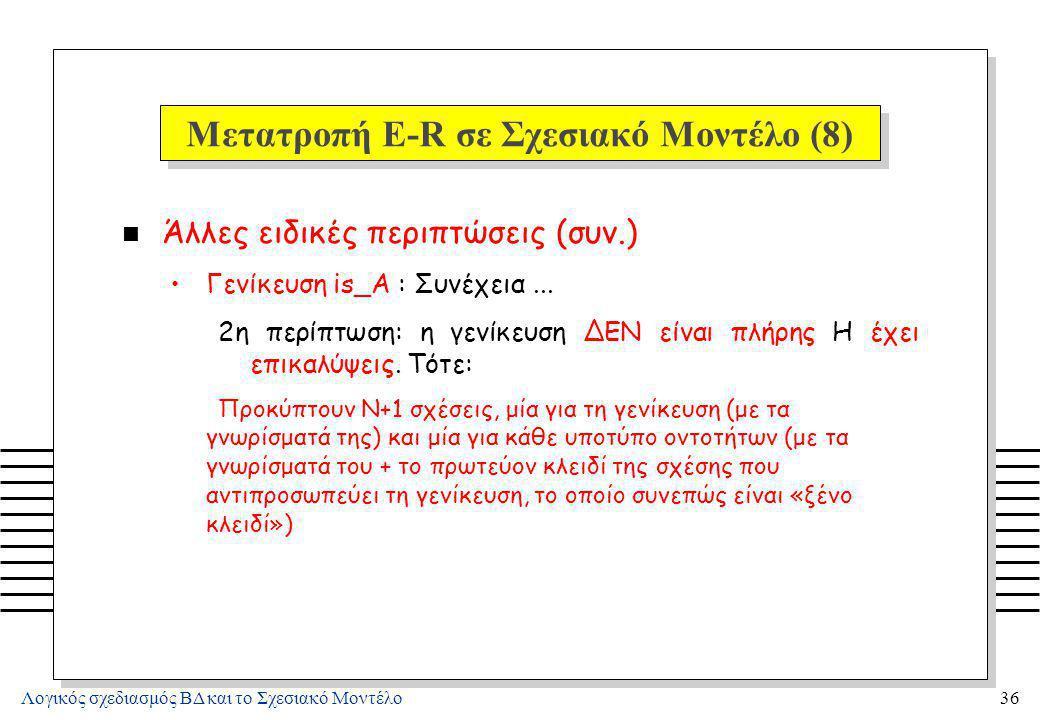 Μετατροπή E-R σε Σχεσιακό Μοντέλο (9)