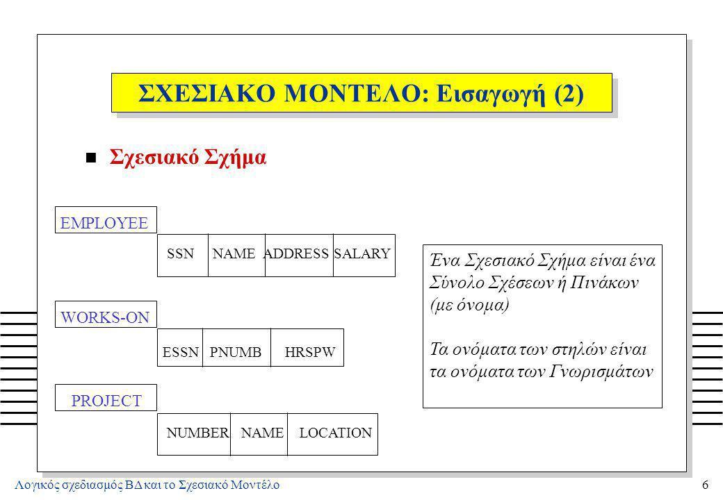 ΣΧΕΣΙΑΚΟ ΜΟΝΤΕΛΟ: Εισαγωγή (3)