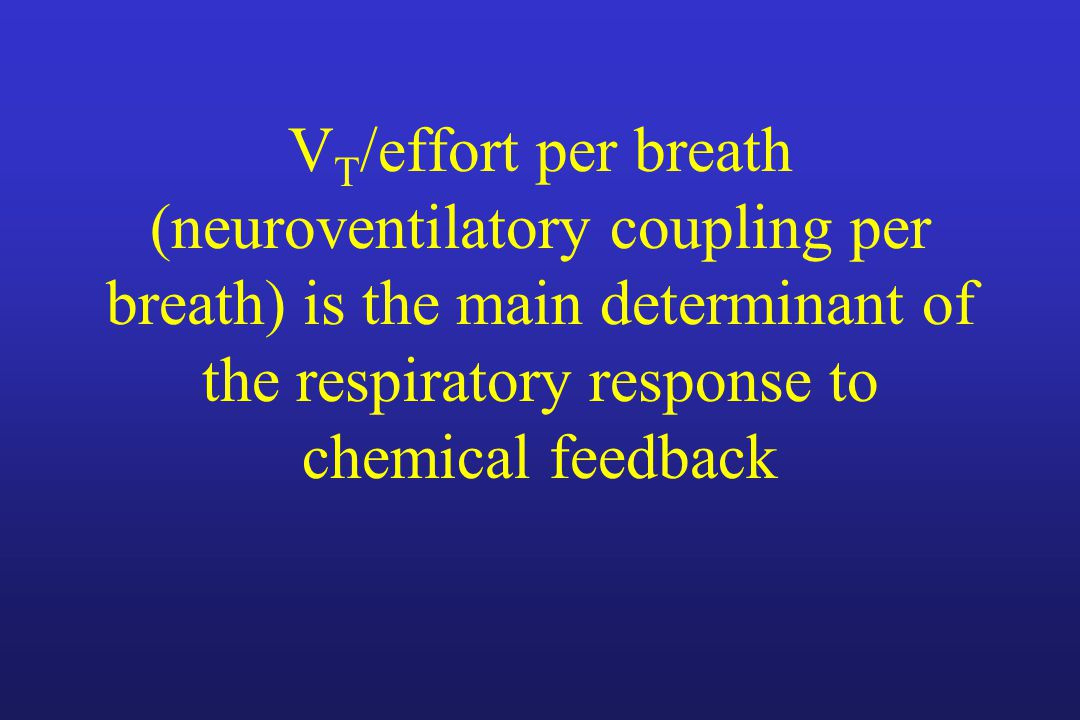 VT/effort per breath (neuroventilatory coupling per breath) is the main determinant of the respiratory response to chemical feedback