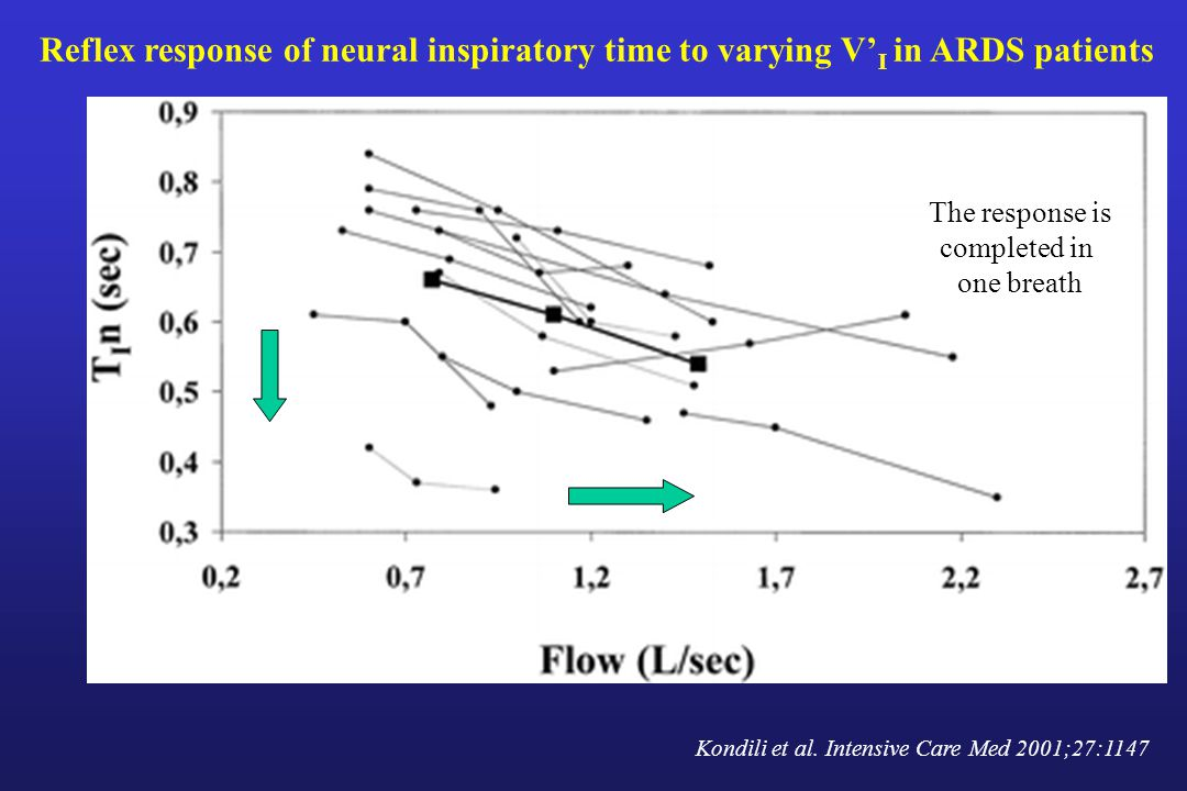 Reflex response of neural inspiratory time to varying V'I in ARDS patients