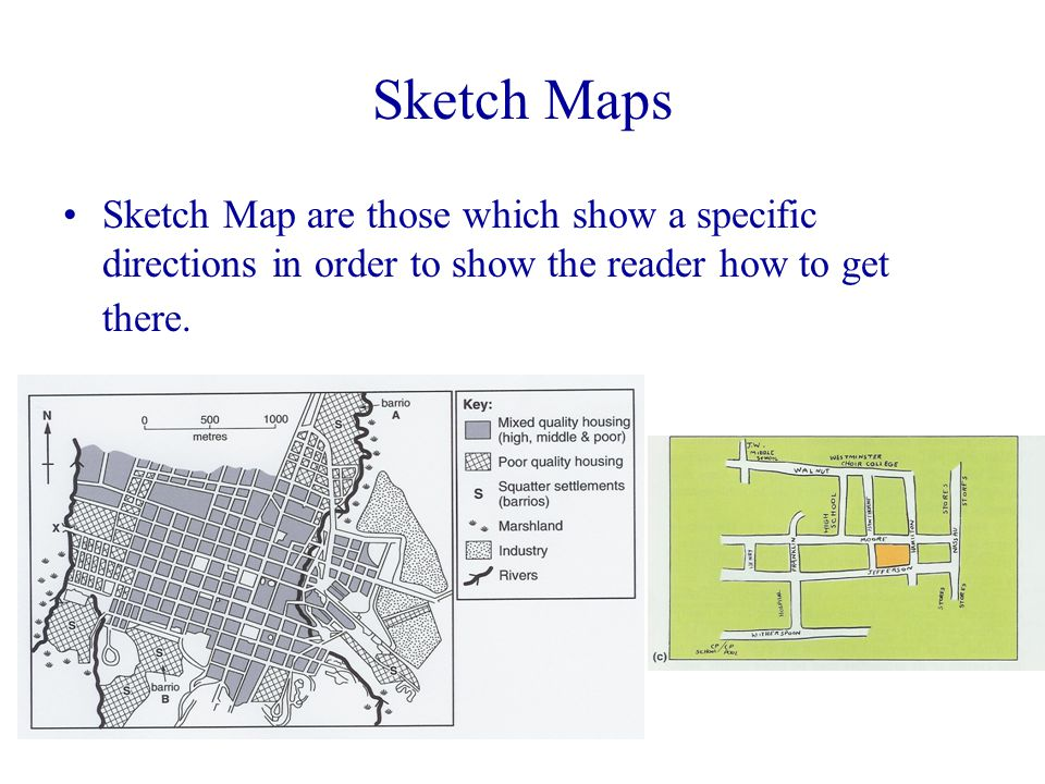 Sketch Maps Sketch Map are those which show a specific directions in order to show the reader how to get there.