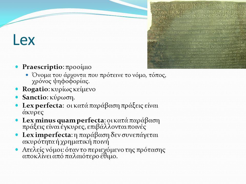 Lex Praescriptio: προοίμιο Rogatio: κυρίως κείμενο Sanctio: κύρωση.