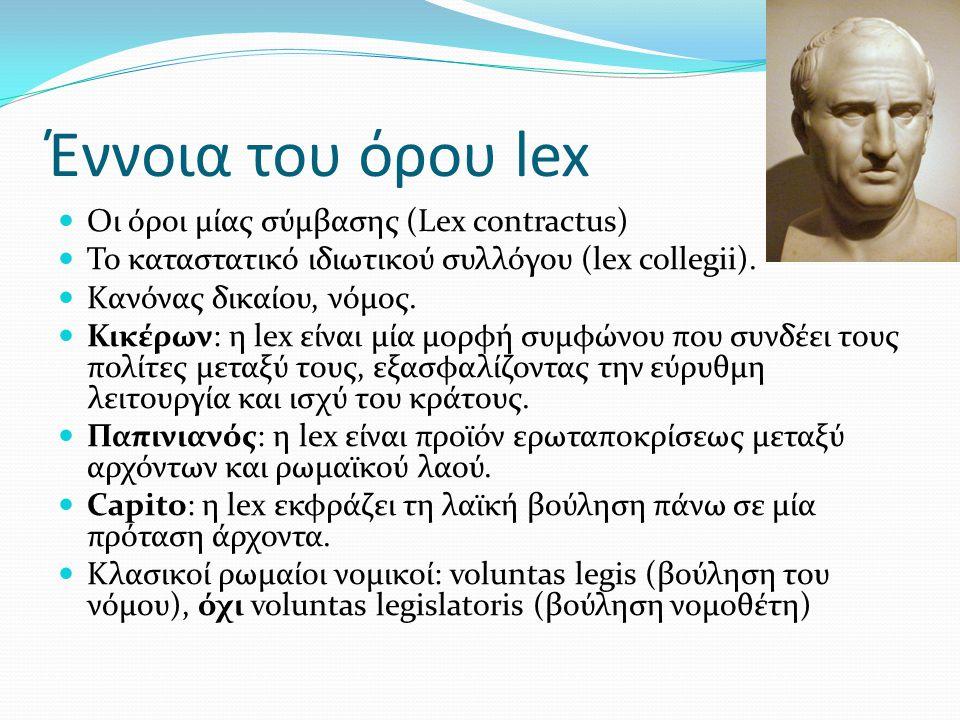 Έννοια του όρου lex Oι όροι μίας σύμβασης (Lex contractus)