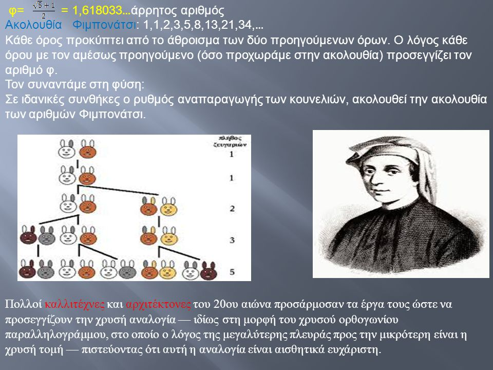 φ= = 1,618033…άρρητος αριθμός Ακολουθία Φιμπονάτσι: 1,1,2,3,5,8,13,21,34,…