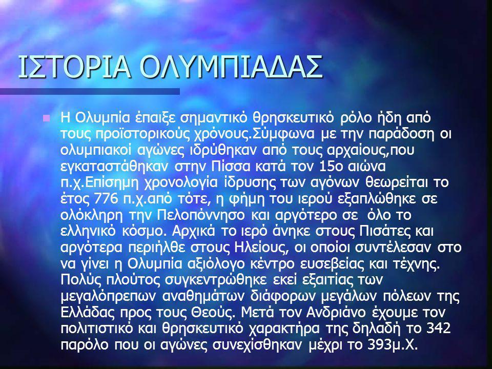 ΙΣΤΟΡΙΑ ΟΛΥΜΠΙΑΔΑΣ