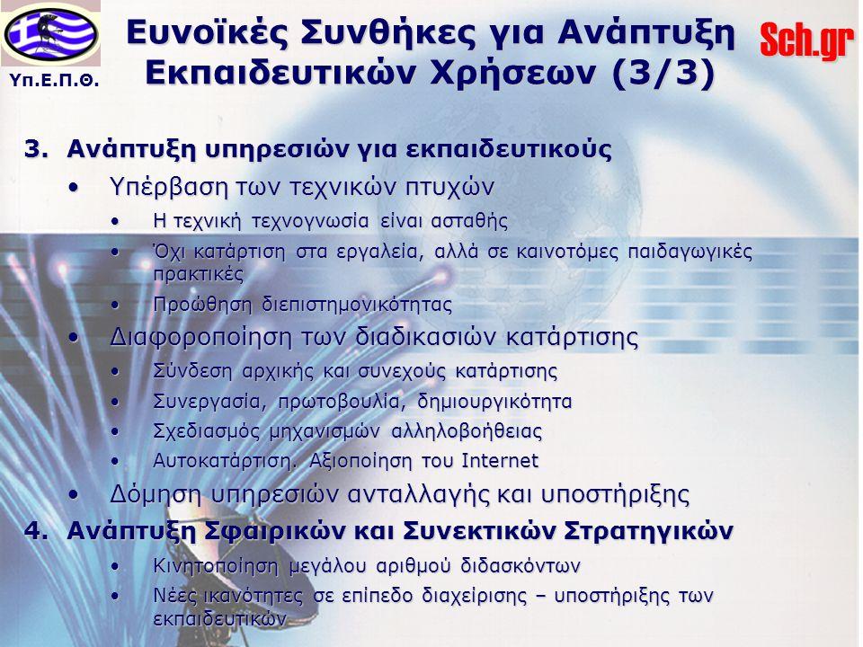 Ευνοϊκές Συνθήκες για Ανάπτυξη Εκπαιδευτικών Χρήσεων (3/3)