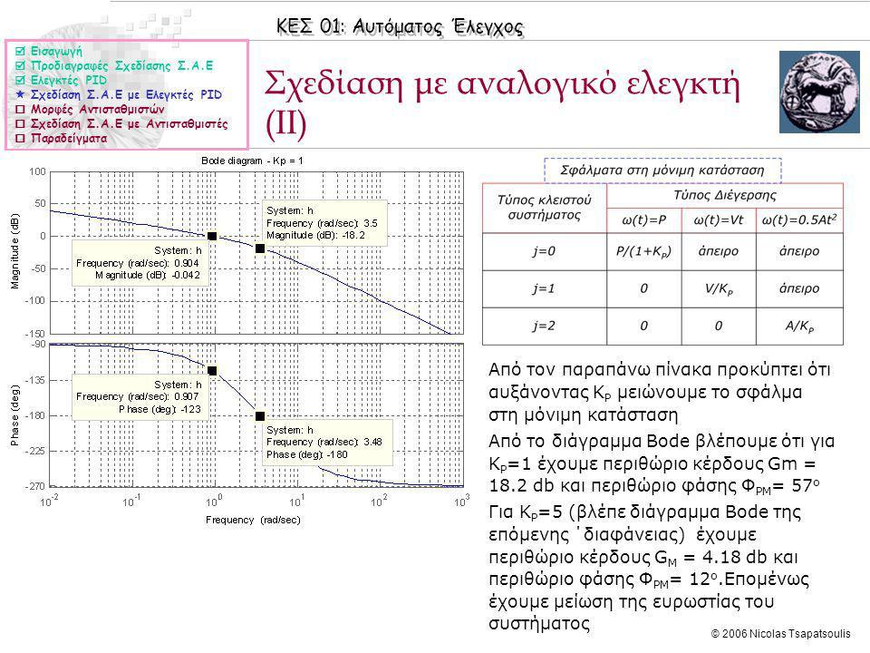 Σχεδίαση με αναλογικό ελεγκτή (II)