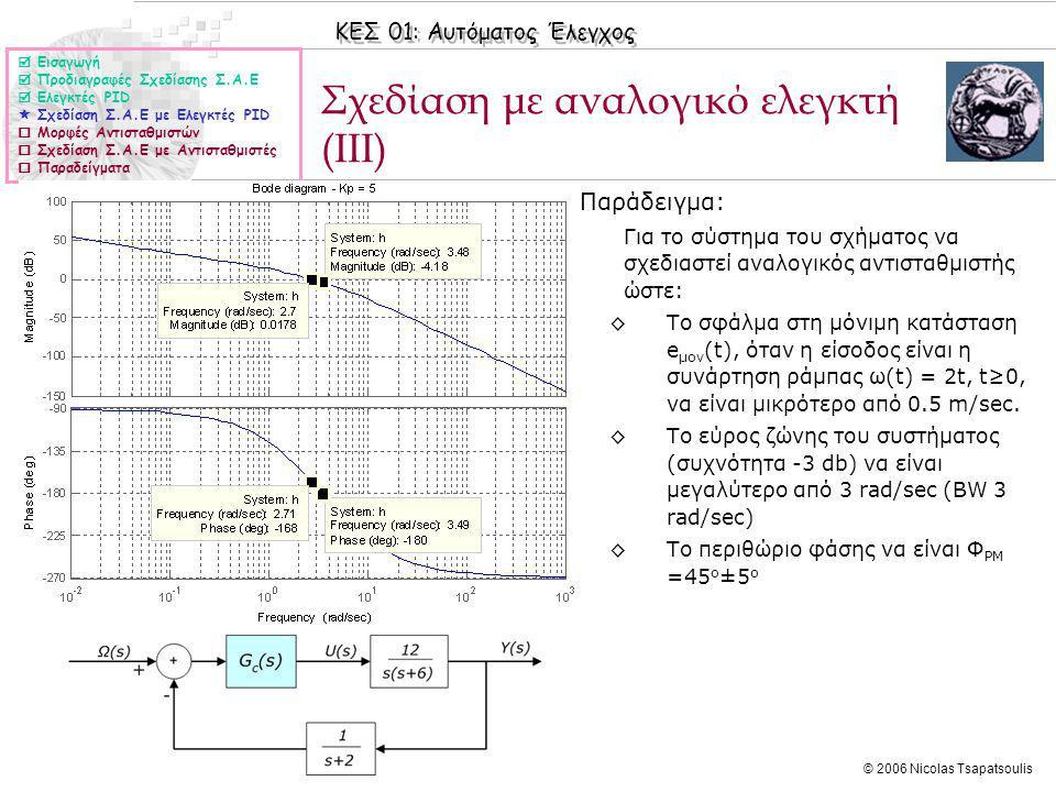 Σχεδίαση με αναλογικό ελεγκτή (IIΙ)
