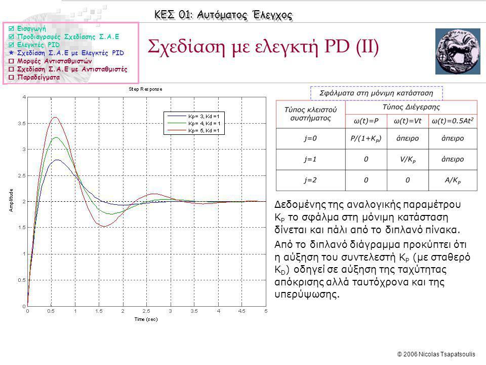 Σχεδίαση με ελεγκτή PD (ΙΙ)
