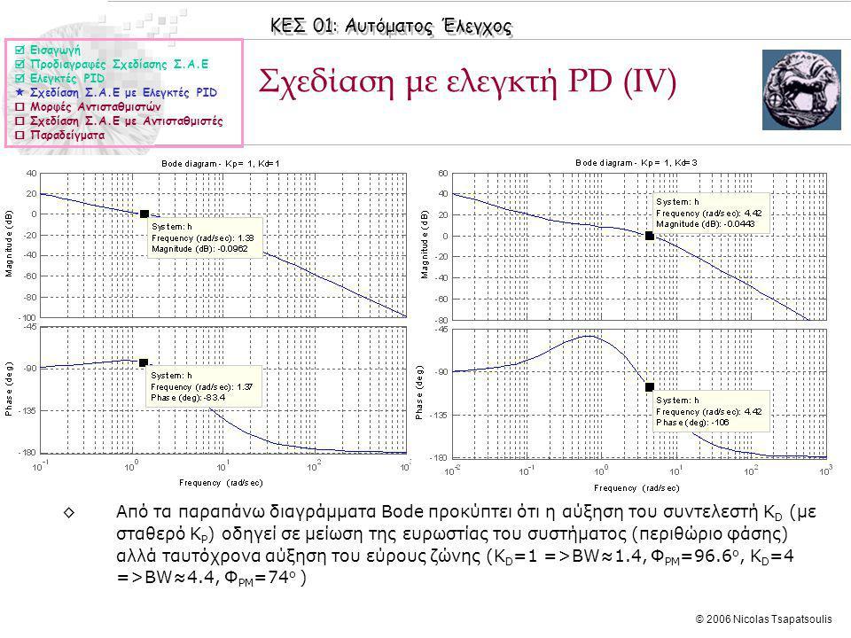 Σχεδίαση με ελεγκτή PD (ΙV)