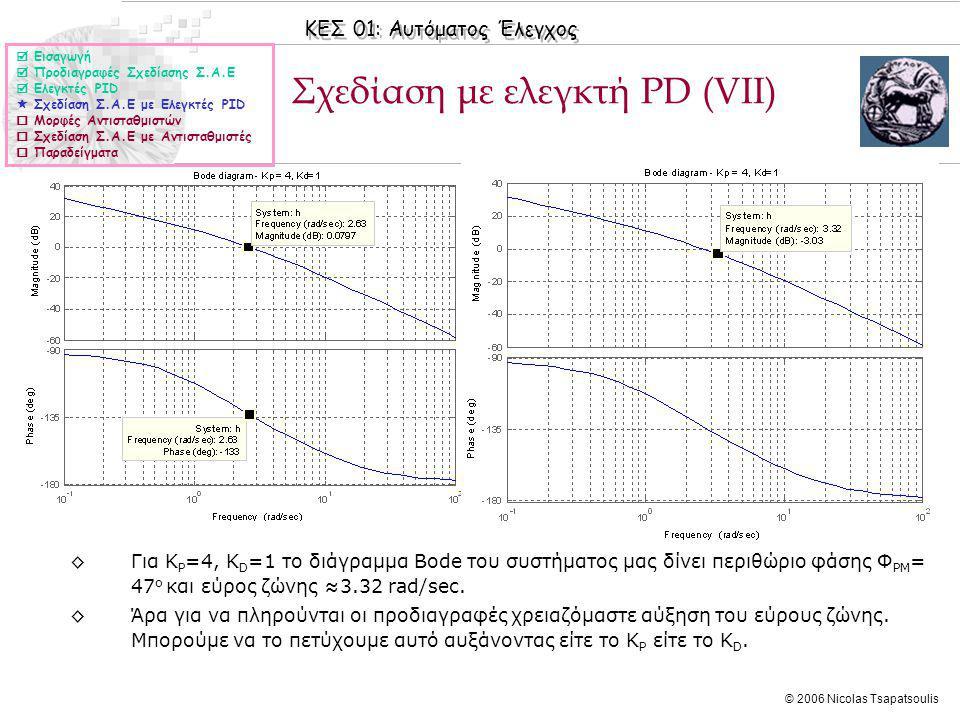 Σχεδίαση με ελεγκτή PD (VΙΙ)