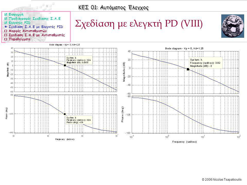 Σχεδίαση με ελεγκτή PD (VΙIΙ)