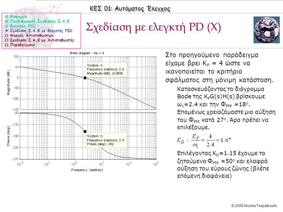 Σχεδίαση με ελεγκτή PD (X)