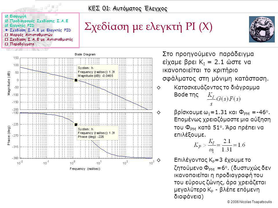 Σχεδίαση με ελεγκτή PI (X)