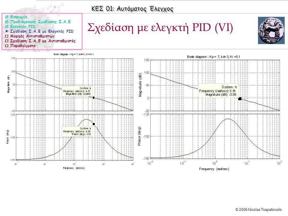 Σχεδίαση με ελεγκτή PID (VI)