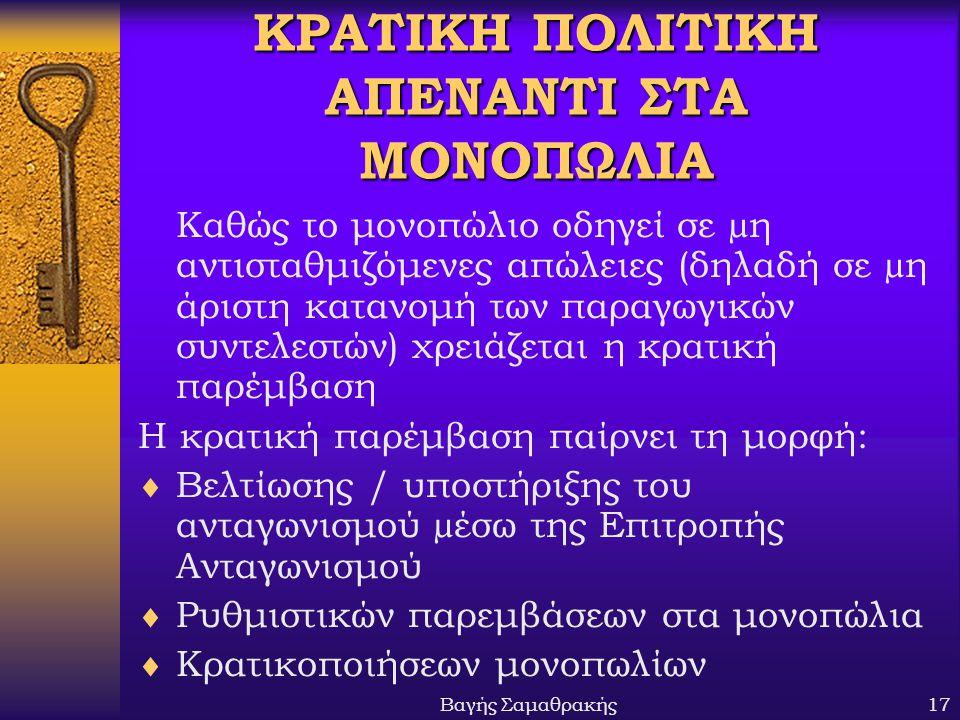 ΚΡΑΤΙΚΗ ΠΟΛΙΤΙΚΗ ΑΠΕΝΑΝΤΙ ΣΤΑ ΜΟΝΟΠΩΛΙΑ