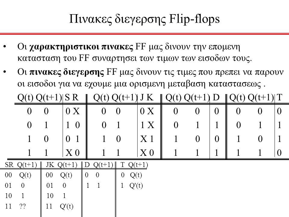 Πινακες διεγερσης Flip-flops