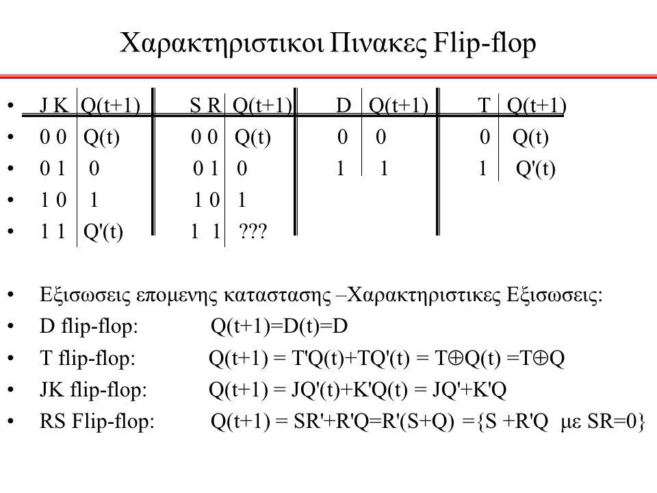 Χαρακτηριστικοι Πινακες Flip-flop