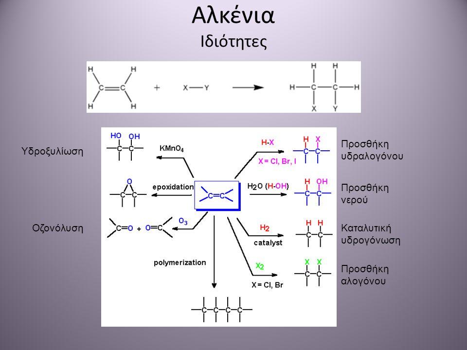 Αλκένια Ιδιότητες Προσθήκη υδραλογόνου Υδροξυλίωση Προσθήκη νερού