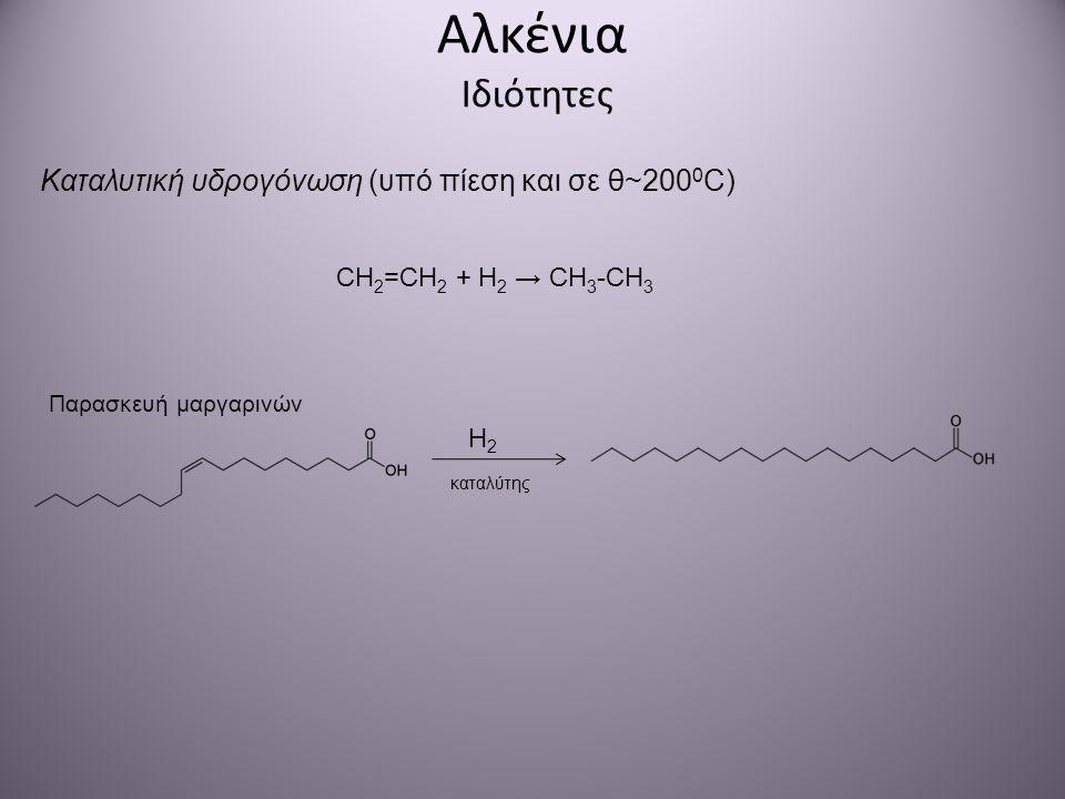Αλκένια Ιδιότητες Καταλυτική υδρογόνωση (υπό πίεση και σε θ~2000C)