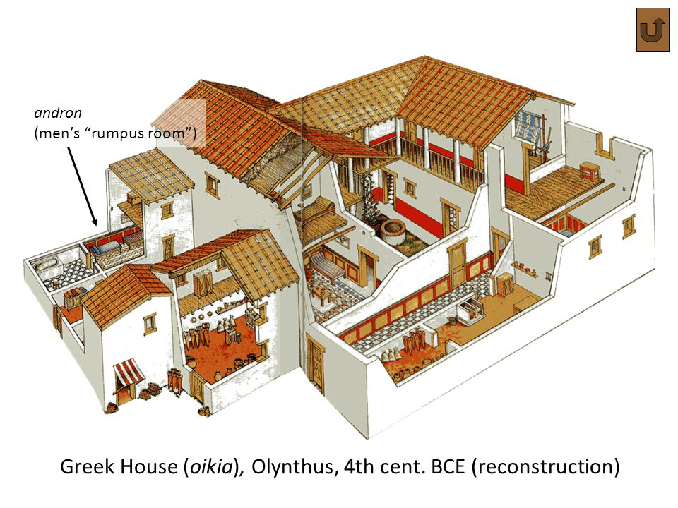 Greek House (oikia), Olynthus, 4th cent. BCE (reconstruction)