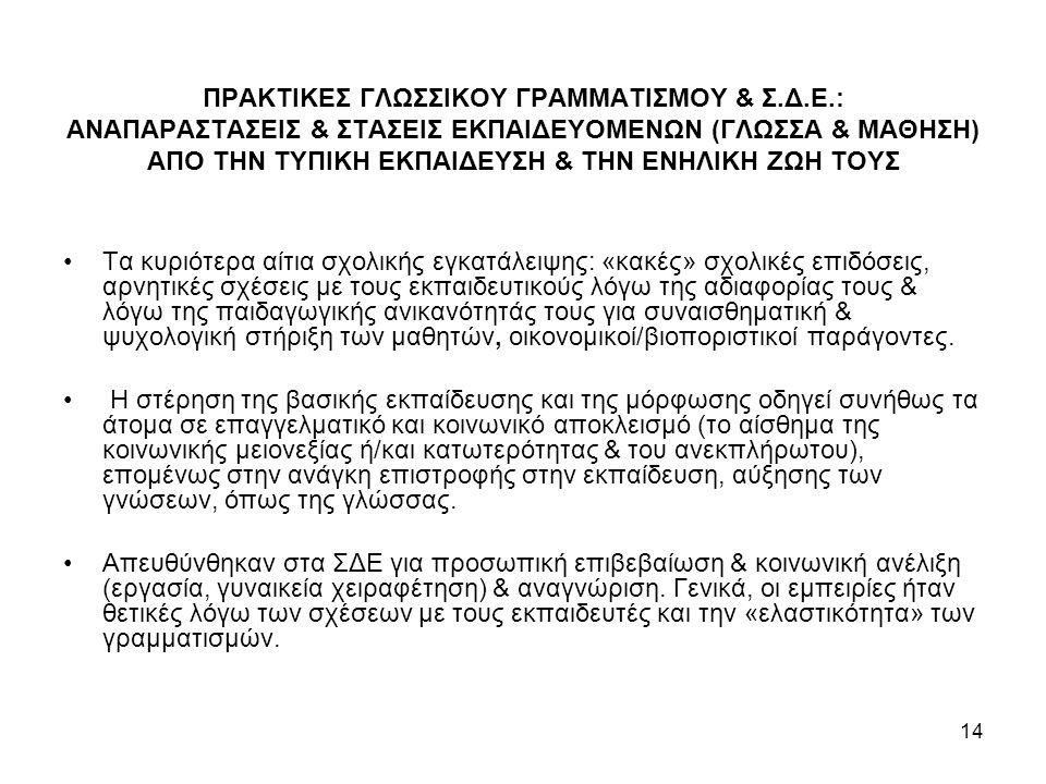 ΠΡΑΚΤΙΚΕΣ ΓΛΩΣΣΙΚΟΥ ΓΡΑΜΜΑΤΙΣΜΟΥ & Σ. Δ. Ε