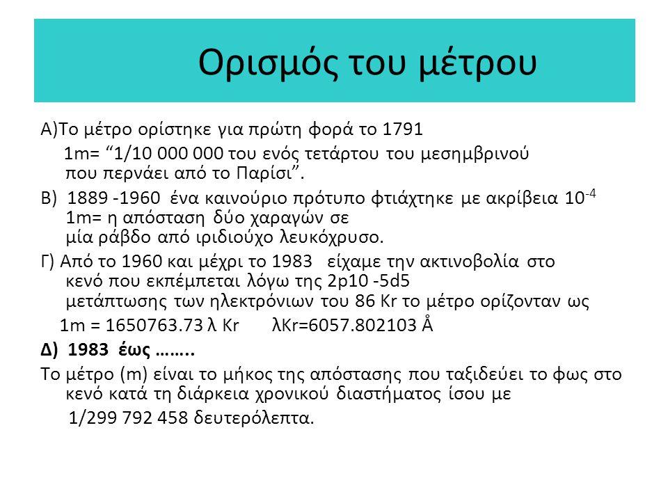 Ορισμός του μέτρου A)Το μέτρο ορίστηκε για πρώτη φορά το 1791