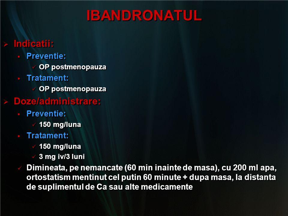 IBANDRONATUL Indicatii: Doze/administrare: Preventie: Tratament: