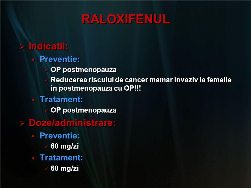 RALOXIFENUL Indicatii: Doze/administrare: Preventie: Tratament: