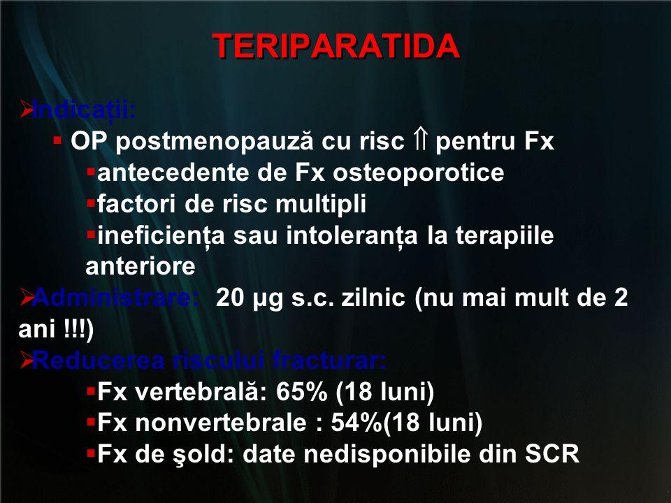 TERIPARATIDA Indicaţii: OP postmenopauză cu risc  pentru Fx