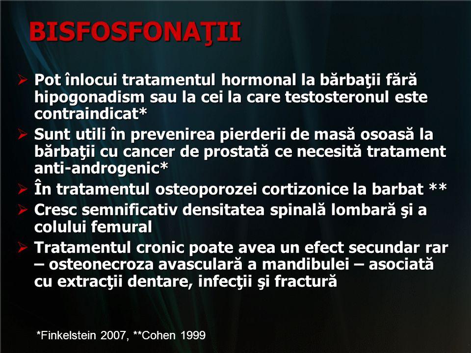 BISFOSFONAŢII Pot înlocui tratamentul hormonal la bărbaţii fără hipogonadism sau la cei la care testosteronul este contraindicat*