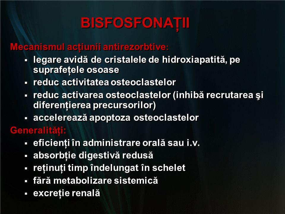 BISFOSFONAŢII Mecanismul acţiunii antirezorbtive: