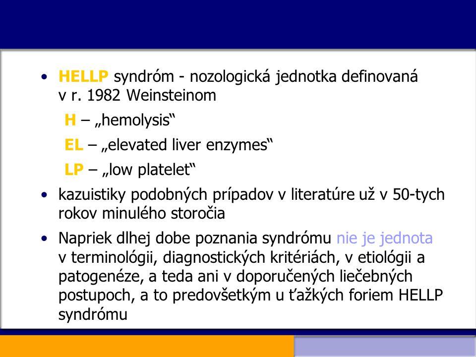HELLP syndróm - nozologická jednotka definovaná v r. 1982 Weinsteinom