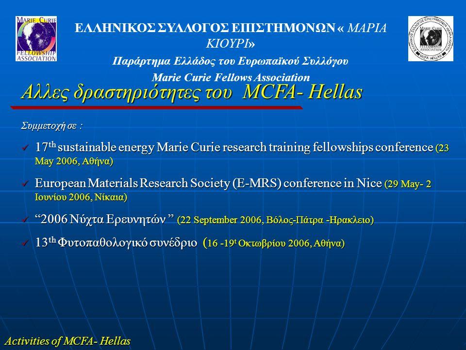 Αλλες δραστηριότητες του MCFA- Hellas