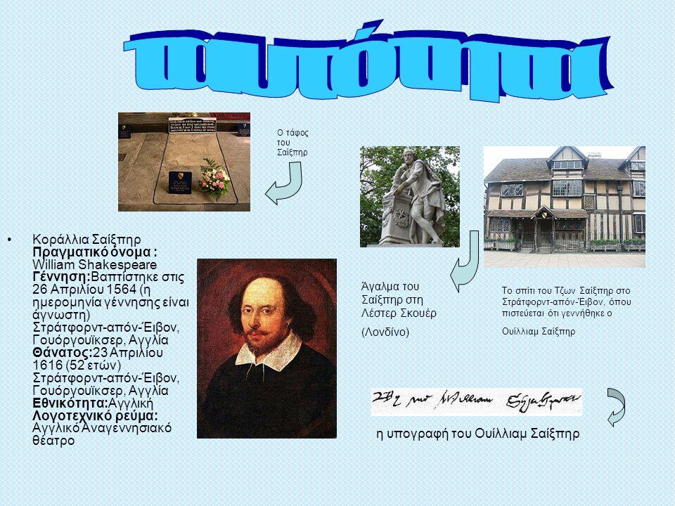 η υπογραφή του Ουίλλιαμ Σαίξπηρ