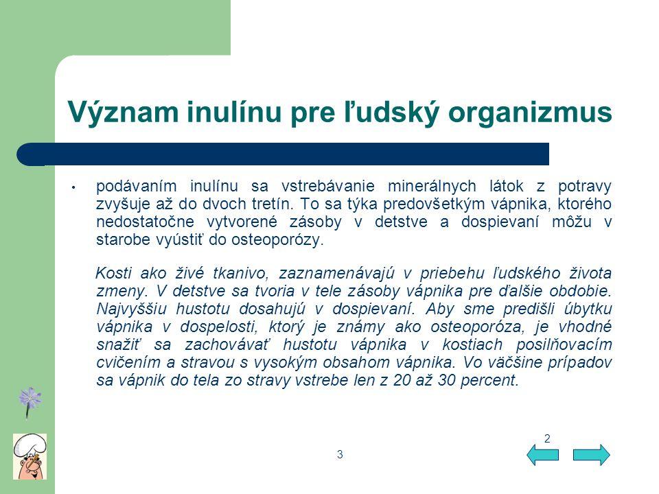 Význam inulínu pre ľudský organizmus