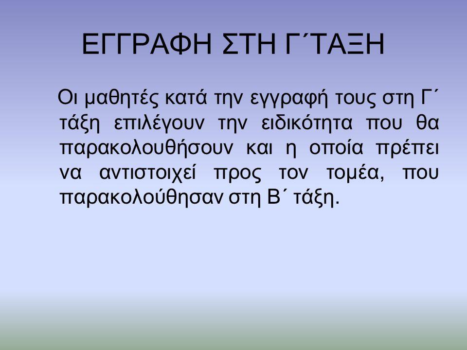 ΕΓΓΡΑΦΗ ΣΤΗ Γ΄ΤΑΞΗ