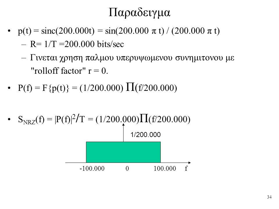 Παραδειγμα p(t) = sinc(200.000t) = sin(200.000 π t) / (200.000 π t)