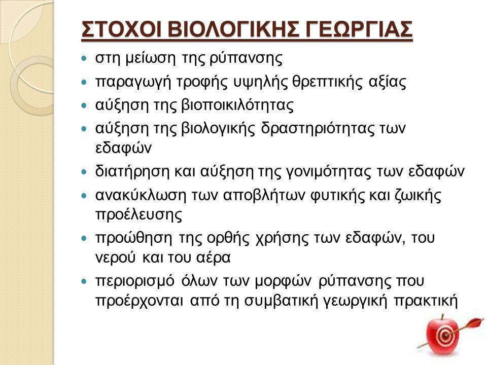 ΣΤΟΧΟΙ ΒΙΟΛΟΓΙΚΗΣ ΓΕΩΡΓΙΑΣ