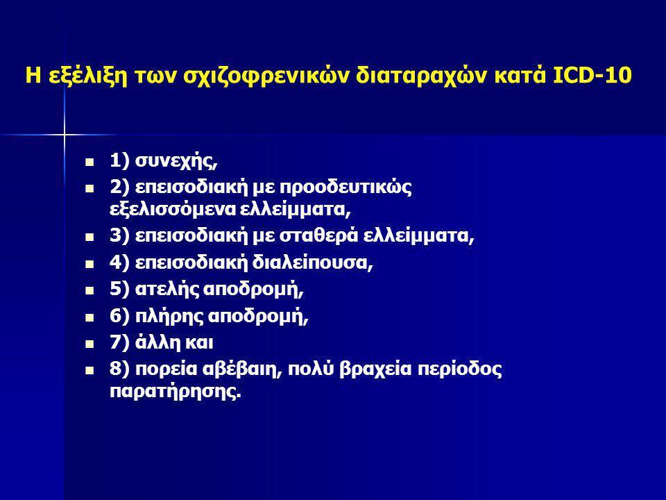 Η εξέλιξη των σχιζοφρενικών διαταραχών κατά ICD-10