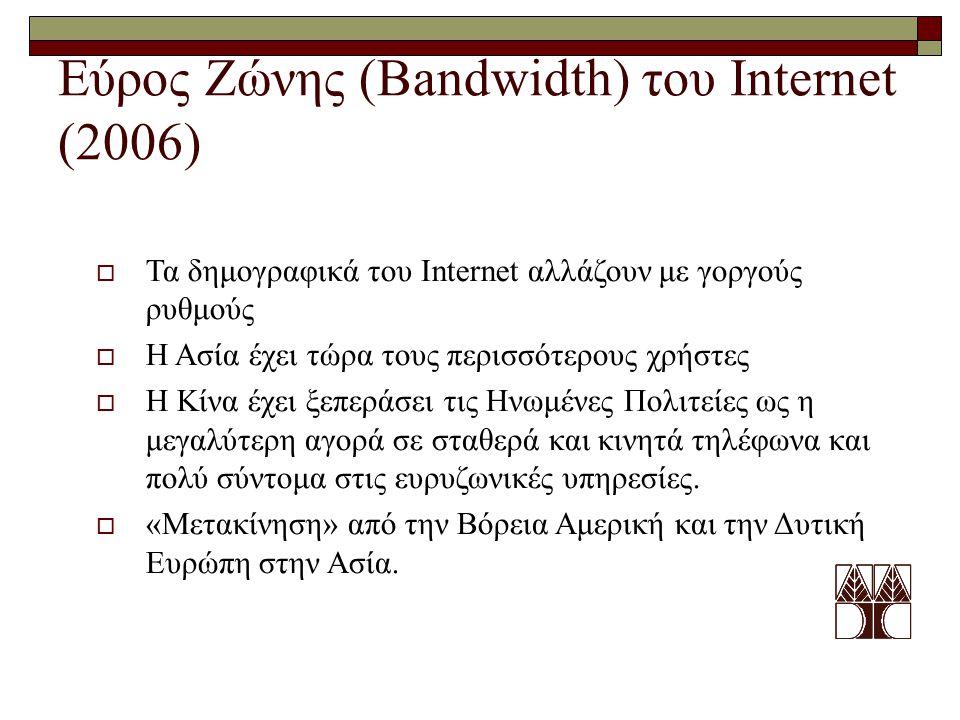 Εύρος Ζώνης (Bandwidth) του Internet (2006)