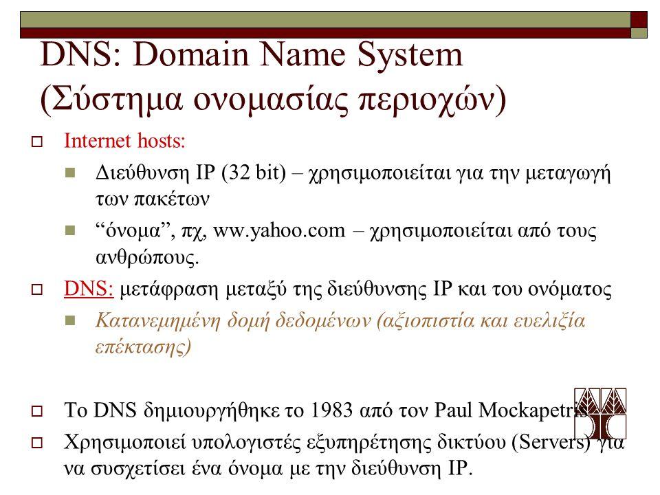 DNS: Domain Name System (Σύστημα ονομασίας περιοχών)