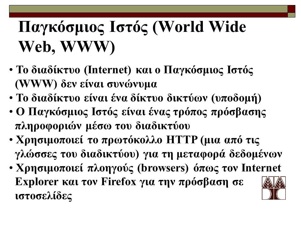 Παγκόσμιος Ιστός (World Wide Web, WWW)