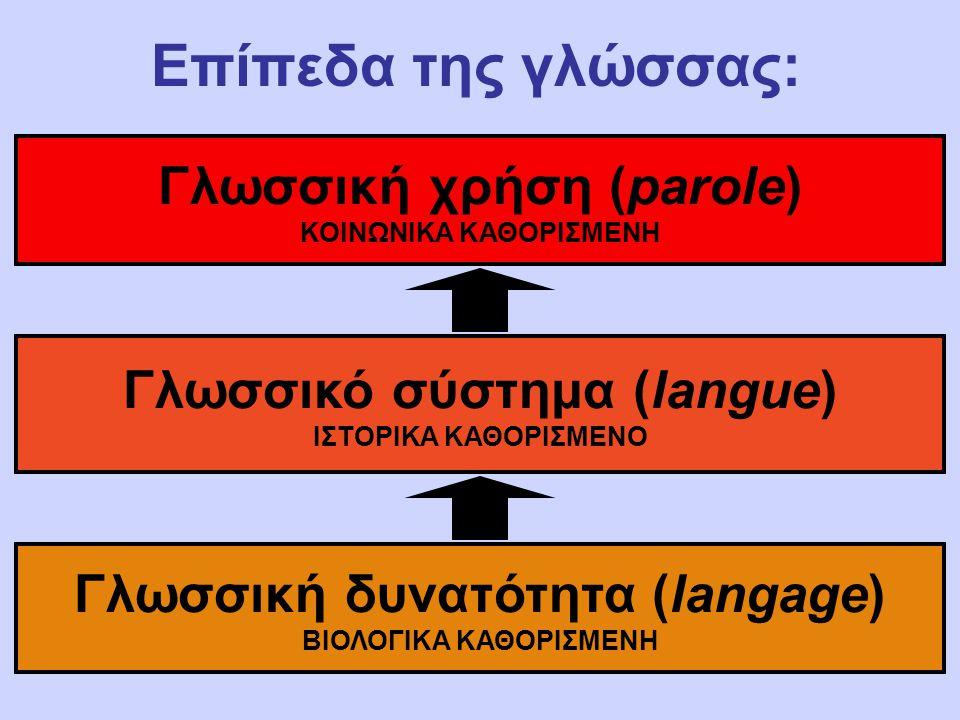 Επίπεδα της γλώσσας: Γλωσσική χρήση (parole) Γλωσσικό σύστημα (langue)