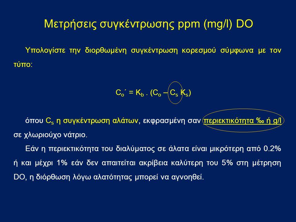 Μετρήσεις συγκέντρωσης ppm (mg/l) DO