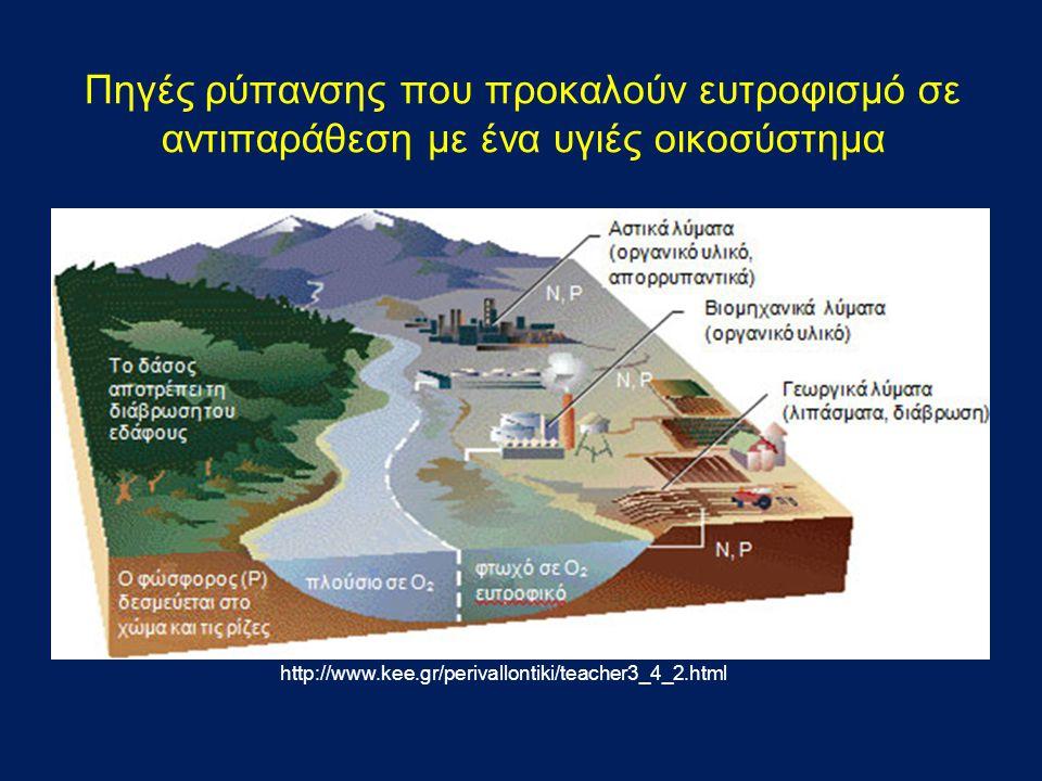 Πηγές ρύπανσης που προκαλούν ευτροφισμό σε αντιπαράθεση με ένα υγιές οικοσύστημα