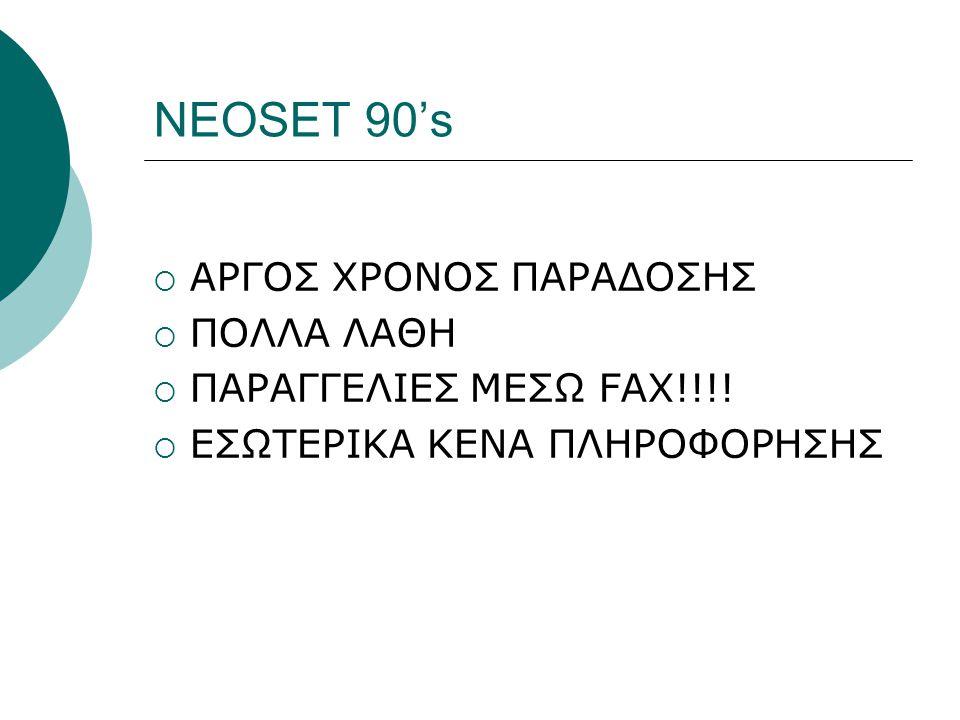 NEOSET 90's ΑΡΓΟΣ ΧΡΟΝΟΣ ΠΑΡΑΔΟΣΗΣ ΠΟΛΛΑ ΛΑΘΗ ΠΑΡΑΓΓΕΛΙΕΣ ΜΕΣΩ FAX!!!!
