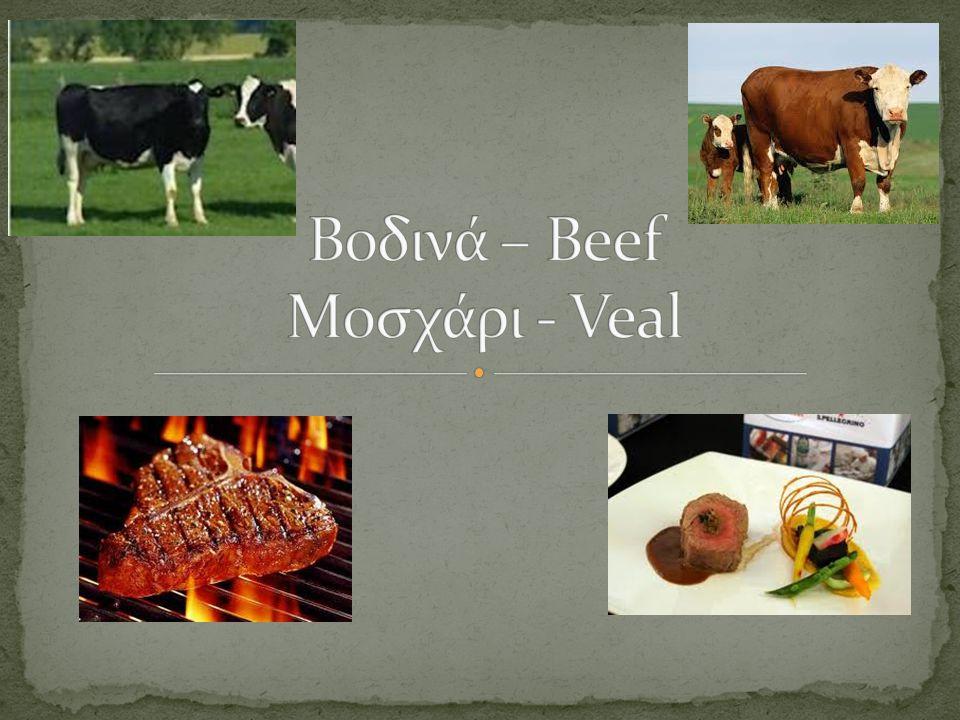 Βοδινά – Beef Μοσχάρι - Veal