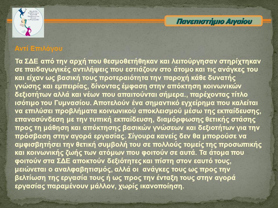 Πανεπιστήμιο Αιγαίου Αντί Επιλόγου.